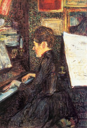 Reproduction oil paintings - Toulouse-Lautrec - Mlle Marie Dihau At The Piano