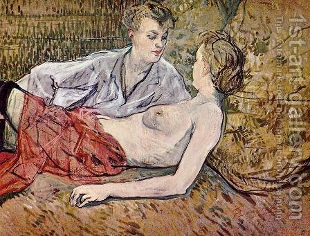 The Two Girlfriends by Toulouse-Lautrec - Reproduction Oil Painting