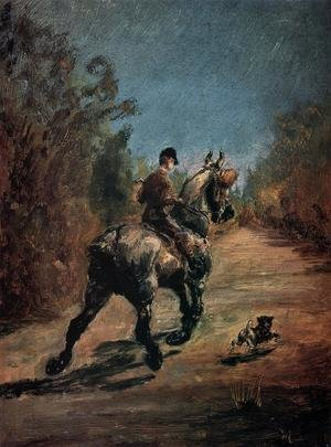 Reproduction oil paintings - Toulouse-Lautrec - Horse And Rider With A Little Dog