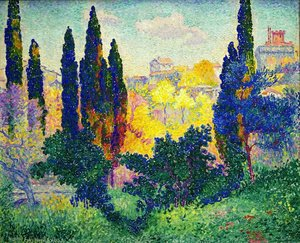 Pointillism painting reproductions: Cypress In Cagnes