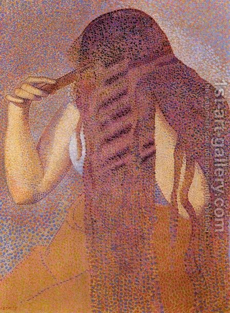 Woman Combing her Hair 1892 by Henri Edmond Cross - Reproduction Oil Painting