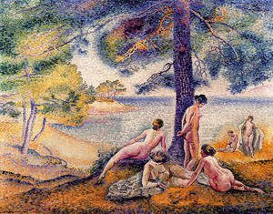 Pointillism painting reproductions: A Place In The Shade
