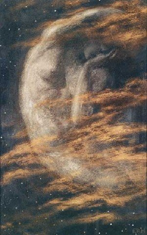 Pre-Raphaelites painting reproductions: Weary Moon