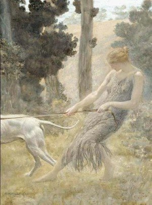 Pre-Raphaelites painting reproductions: Woman Walking Her Dog