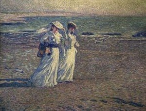 Pointillism painting reproductions: A Stroll On The Beach
