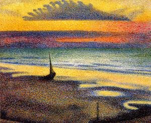 Pointillism painting reproductions: Sunset On The Beach