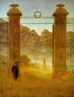 Reproduction oil paintings - Caspar David Friedrich - Cemetery At Dusk