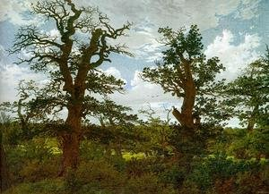 Reproduction oil paintings - Caspar David Friedrich - Landscape with Oak Trees & a Hunter 1811