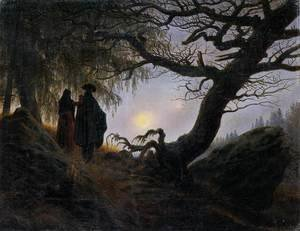 Reproduction oil paintings - Caspar David Friedrich - Man and Woman Contemplating the Moon c. 1824