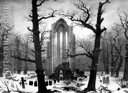 Caspar David Friedrich: Monastery Graveyard In The Snow - reproduction oil painting