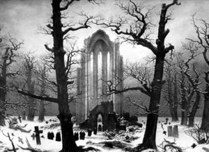 Romanticism painting reproductions: Monastery Graveyard In The Snow