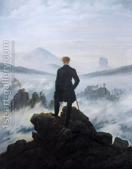 Caspar David Friedrich: The Wanderer above the Mists 1817-18 - reproduction oil painting