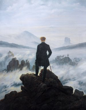 Famous paintings of Landscapes: The Wanderer above the Mists 1817-18