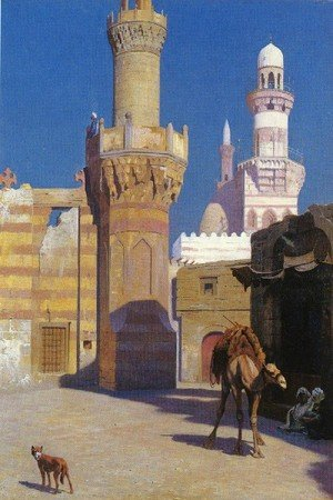 Reproduction oil paintings - Jean-Léon Gérôme - A Hot Day In Cairo   In Front Of The Mosque