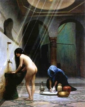 Jean-Léon Gérôme reproductions - A Moorish Bath   Turkish Woman Bathing No 2