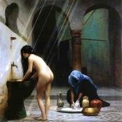 Oil painting reproductions - Orientalism - Jean-Léon Gérôme: A Moorish Bath   Turkish Woman Bathing No 2