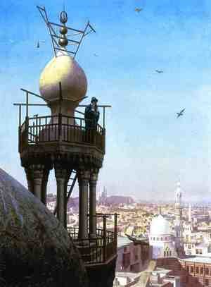 Reproduction oil paintings - Jean-Léon Gérôme - A Muezzin Calling From The Top Of A Minaret The Faithful To Prayer