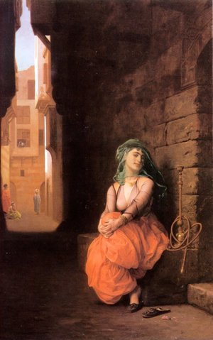 Reproduction oil paintings - Jean-Léon Gérôme - Arab Girl With Waterpipe