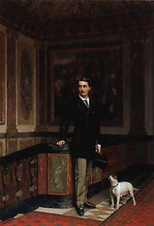 Reproduction oil paintings - Jean-Léon Gérôme - The Duc De La Rochefoucauld Doudeauville With His Terrier