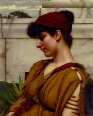 Reproduction oil paintings - John William Godward - A Classical Beauty In Profile