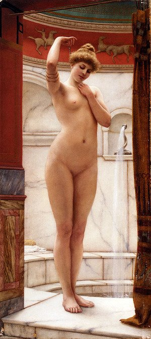 Reproduction oil paintings - John William Godward - A Pompeian Bath