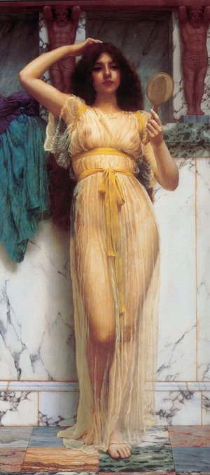Reproduction oil paintings - John William Godward - The Mirror
