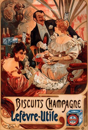 Famous paintings of Cafes & Bistros: Biscuits Champagne Lefevre Utile