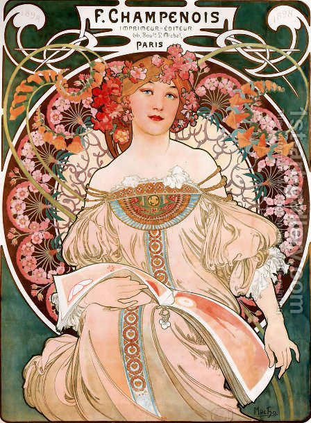 F  Champenois Imprimeur Editeur by Alphonse Maria Mucha - Reproduction Oil Painting