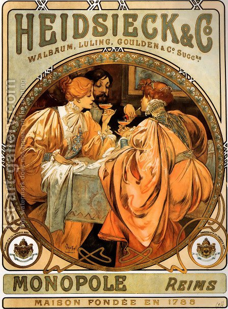 Heidsieck And Co by Alphonse Maria Mucha - Reproduction Oil Painting