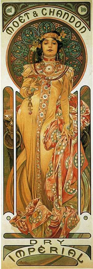 Reproduction oil paintings - Alphonse Maria Mucha - Moet And Chandon Cremant Imperial