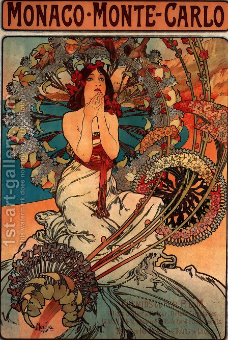 Monaco Monte Carlo by Alphonse Maria Mucha - Reproduction Oil Painting