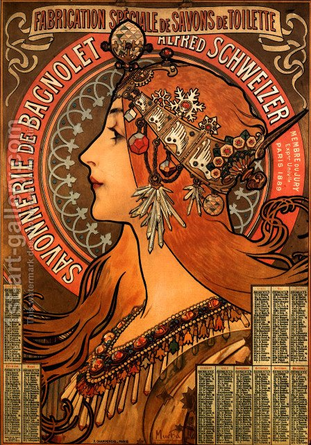 Savonnerie De Bagnolet by Alphonse Maria Mucha - Reproduction Oil Painting