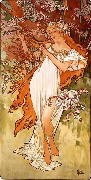 Reproduction oil paintings - Alphonse Maria Mucha - Spring