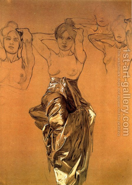 Study Of Drapery by Alphonse Maria Mucha - Reproduction Oil Painting