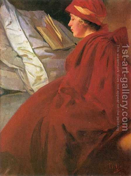 The Red Cape by Alphonse Maria Mucha - Reproduction Oil Painting