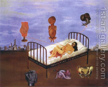 Frida Kahlo: Henry Ford Hospital - reproduction oil painting
