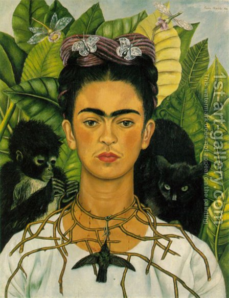 Self Portrait With Monkeys 1940 by Frida Kahlo - Reproduction Oil Painting