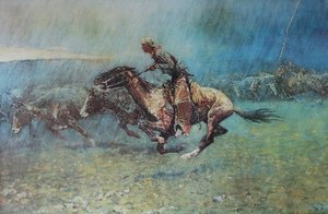 Famous paintings of Wild West: Remington Stampede