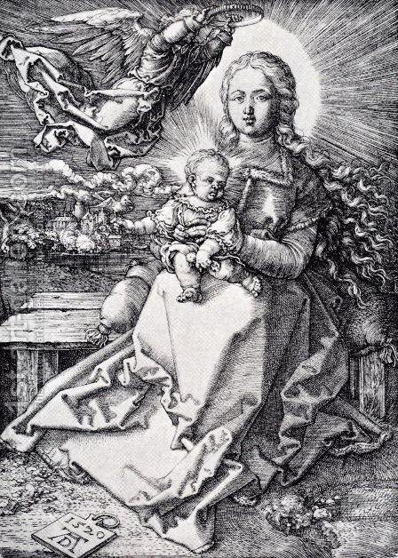 Madonna Crowned By An Angel by Albrecht Durer - Reproduction Oil Painting