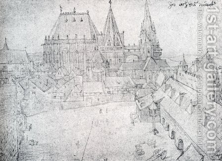 The Cathedral Of Aix La Chapelle With Its Surroundings  Seen From The Coronation Hall by Albrecht Durer - Reproduction Oil Painting