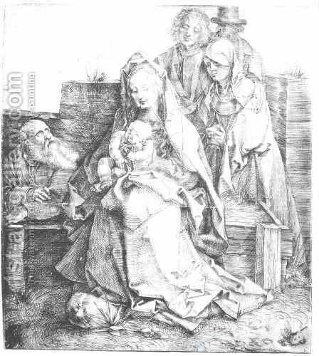 The Holy Family With St  John  The Magdalen And Nicodemus by Albrecht Durer - Reproduction Oil Painting
