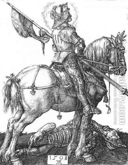 St  George On Horseback by Albrecht Durer - Reproduction Oil Painting