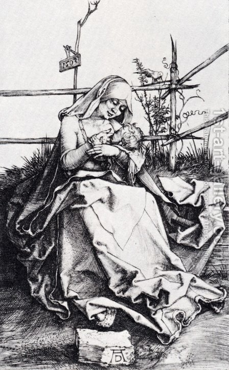 Madonna On A Grassy Bench by Albrecht Durer - Reproduction Oil Painting