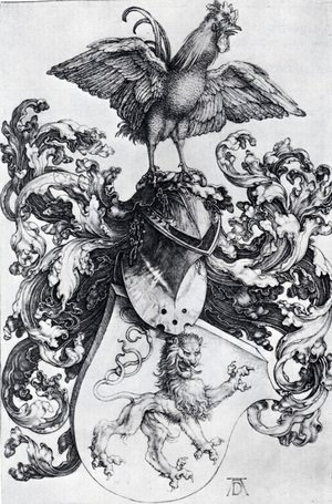 Reproduction oil paintings - Albrecht Durer - Coat Of Arms With Lion And Rooster