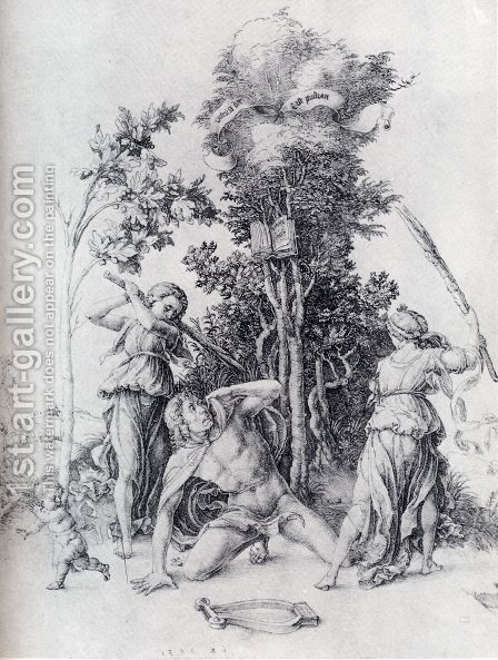 Orpheus Slain By Bacchantes  With A Boy Running Away by Albrecht Durer - Reproduction Oil Painting