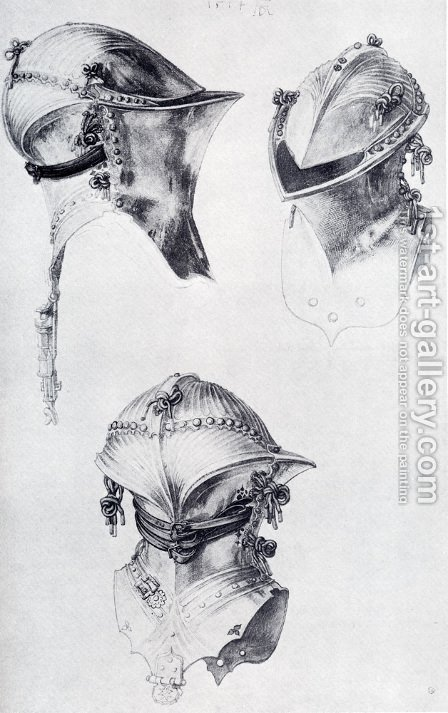 Side  Front  And Back View Of A Helmet by Albrecht Durer - Reproduction Oil Painting