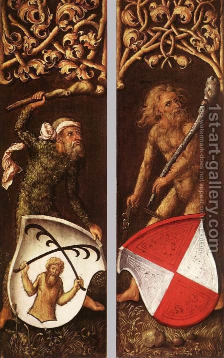 Sylvan Men With Heraldic Shields by Albrecht Durer - Reproduction Oil Painting