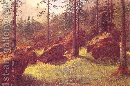 Wooded Landscape by Albert Bierstadt - Reproduction Oil Painting