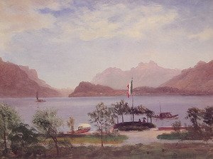 Reproduction oil paintings - Albert Bierstadt - Italian Lake Scene