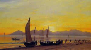 Reproduction oil paintings - Albert Bierstadt - Boats Ashore At Sunset